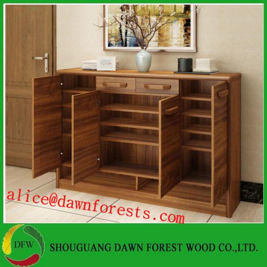 2019 Hot Wooden Home Furniture Two Door/Three Door Shoe Rack/Shoe Storage Cabinet