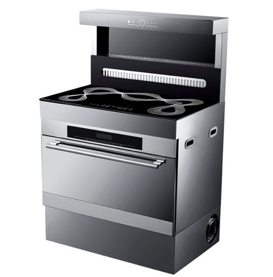Freestanding Ceramic Cooker+Electric Oven with Range Hood