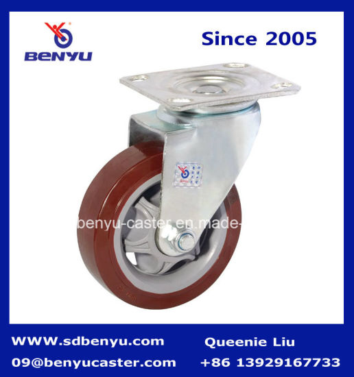 Mediun Heavy Duty Swivel Puplish Red PU Wheel pictures & photos