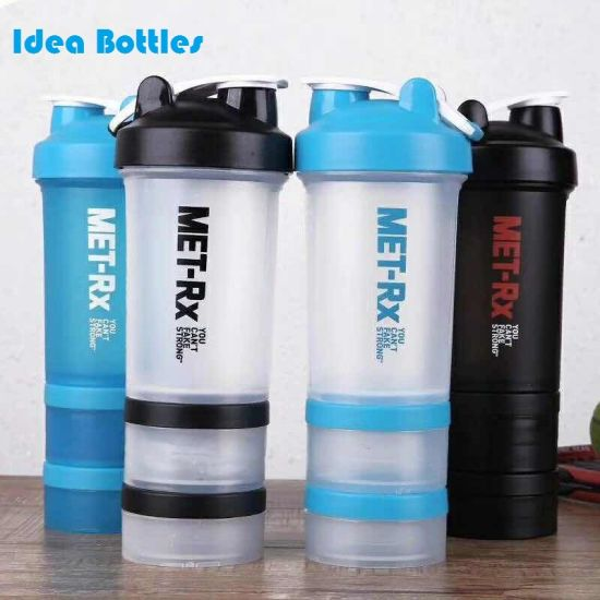 Best Price Plastic Shaker Water Bottle Protein Plastic with Three Layer Bottom