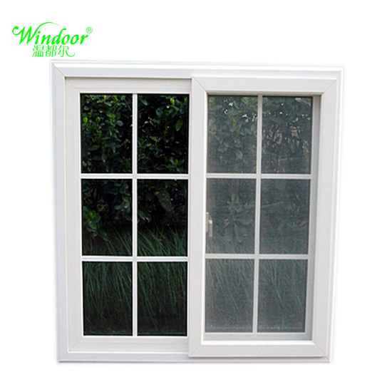 China Impact Upvc Sliding Window With Double Glass Grill Design