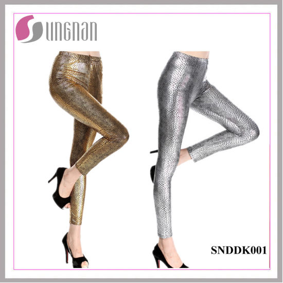 Sexy Dazzling Pants Serpentine Bright PU Leather Leggings pictures & photos