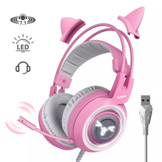 Somic G951 Pink Lovely Cat Ear PC Gaming Headset Headphone USB Plug for Computer Support OEM