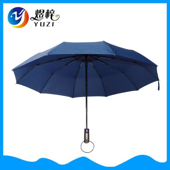 Promotional Custom Auto Open and Close 10 Panel 3 Folding Automatic Advertising Business Gift Umbrella