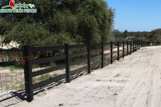 China Black Horse FenceBlack PVC FenceRanch Rail FenceVinyl Fence