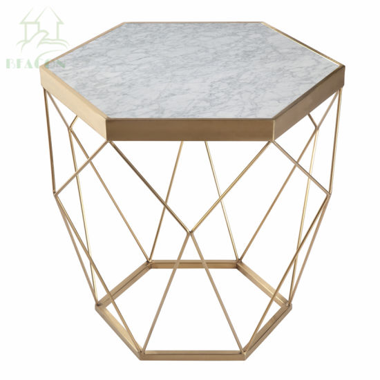 China Octagon Marble Top Gold Metal Wire Coffee Side Table China - Brushed gold side table