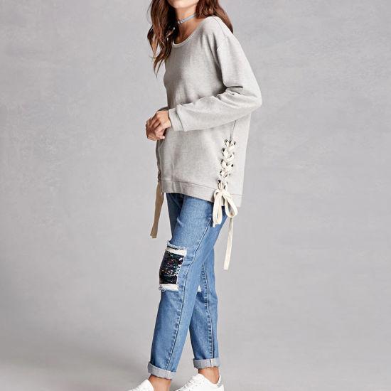 03464ef1b0 China Women Lace-up Boxy Sweatshirt - China Women Sweatshirt
