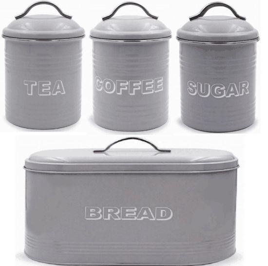 Metal Tea Coffee Sugar Set Canister Bread Bin Bread Set