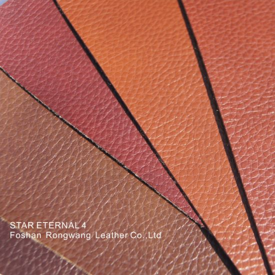 Top Quality PVC Leather for Furniture Two Colors Litchi Grain Imitation Cotton Flannel