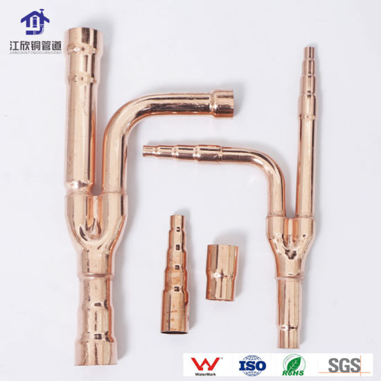 Copper Disperse Pipe Y-Branch Air Conditioner Part Refridgeration Pipe Fitting