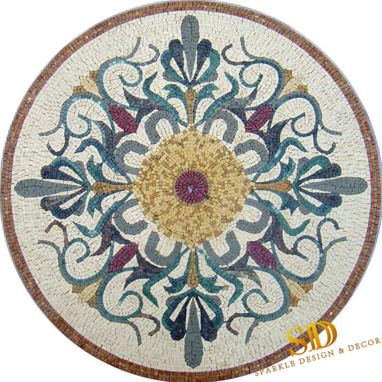 "20/"" Handmade Decorative Marble Mosaic Medallion  Art Stone Tile Home Decor."