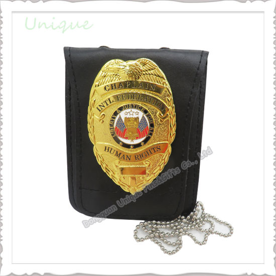 Factory Wholesale Custom Police Badge with Engraving Leather Wallet Case Ball Chain Metal Clip