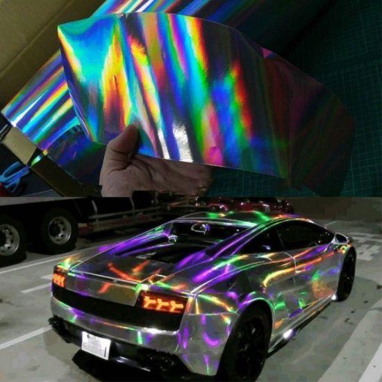 Holographic Chameleon Rainbow Car Films Vinyl Wrap Air Bubble Release Stickers