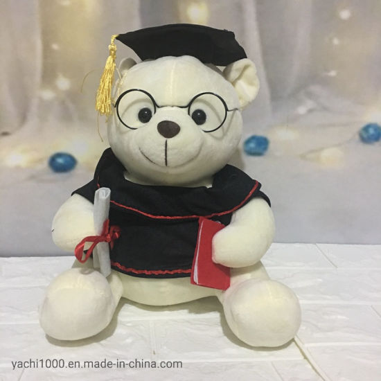 Wholesale Custom Plush Toy Soft Graduation Teddy Bear with Glasses
