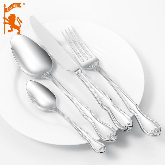 Stainless Steel Mirror Polish Cutlery with Laser Engrave Logo Fork/Spoon/Knife Dinner Set