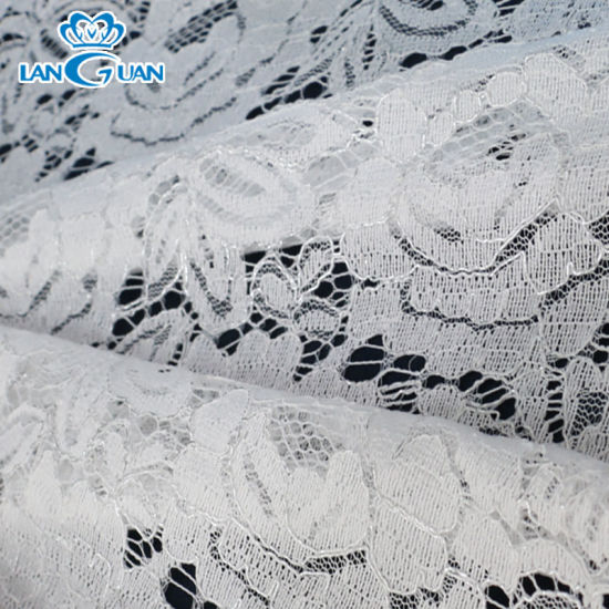 Wholesale White Fancy Full Polyester Bridal Cord Lace Fabric Knitted