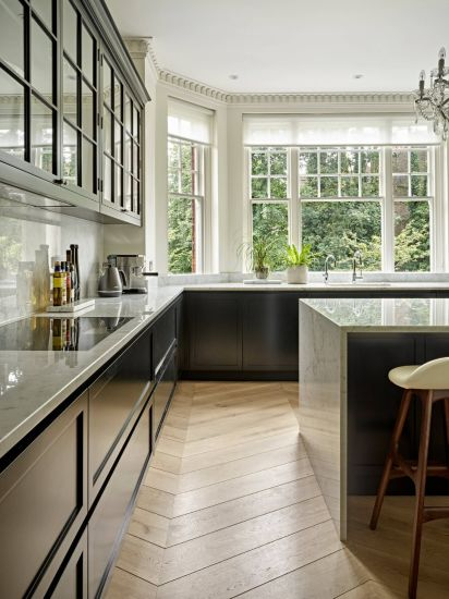 Wholes Ale Kitchen Cabinets Eco-Friendly Solid Wood Black Kitchen Cabinetry