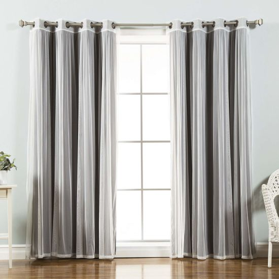 Fashion Mix And Match Tulle Sheer Lace, Antique Bronze Grommet Curtains