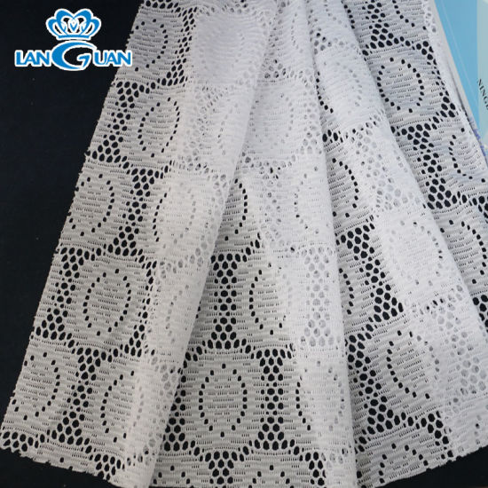 Oval Pattern 145cm White Polyester Lace Fabric for Clothing
