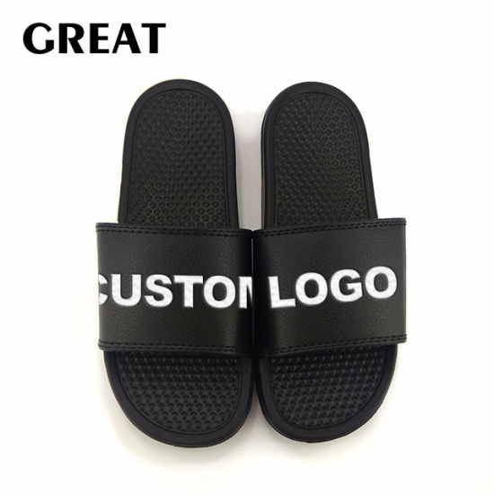 Greatshoe Black Blank Custom Flat Slide Sandal Summer Beach Lightweight EVA Unisex Slide Slipper