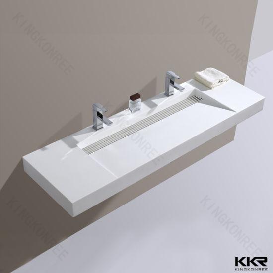 Long Custom Corian Resin Stone Bathroom Vanity Sink