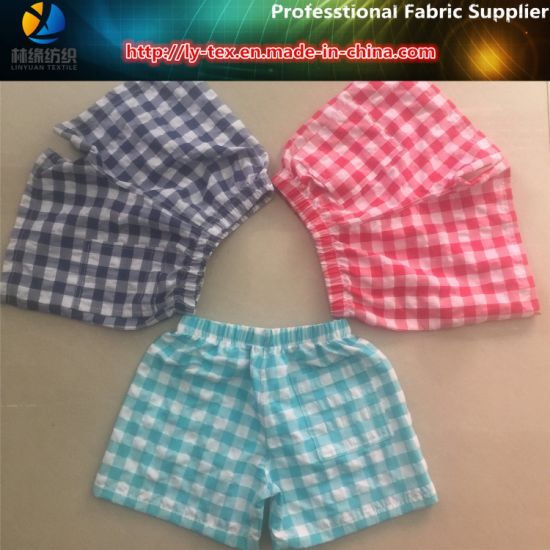 Nylon/Polyester Mixed Yarn Dyed Fabric, Crinkle Check Beach Shorts Fabric (YD1122-Blue) pictures & photos