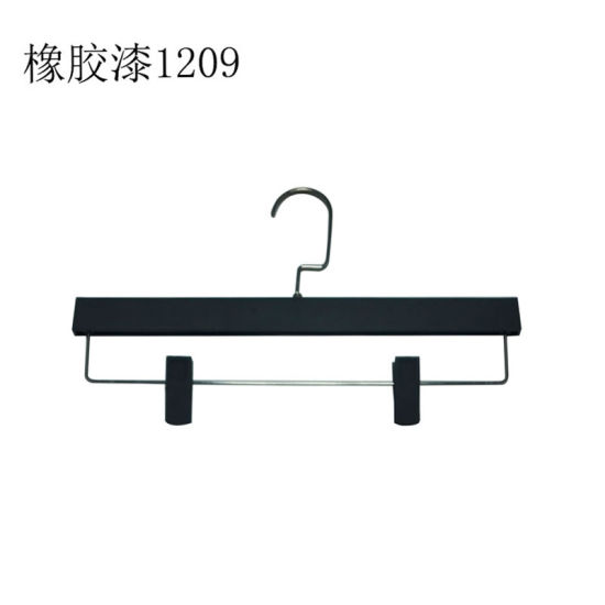 Non-Slip Plastic Rubber Finish Pant Hangers with Clips pictures & photos