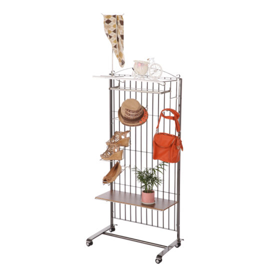 Floor Type Single Side Exhibition Hanging Hook Mesh Wire Grid Wall Display Stand with Panel
