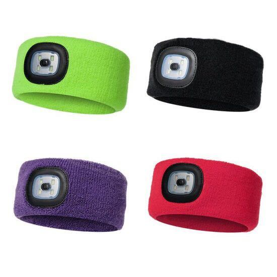 SMD Sport Headband Knitted Beanie Cr2032 Lithium Battery Winter Headband Hiking Lamps pictures & photos