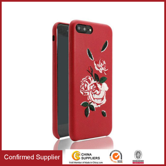 2017 Embroidery Stitched Rose Flower Slim Phone Case for iPhone