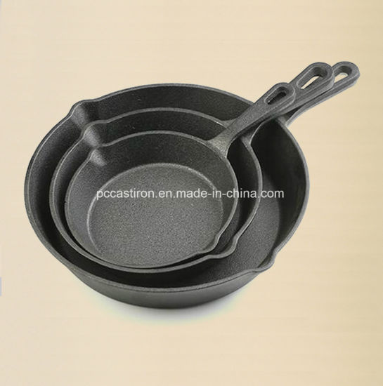Preseasoning Cat Iron Frypan Set Costomize LFGB, Ce, SGS FDA Approvled pictures & photos