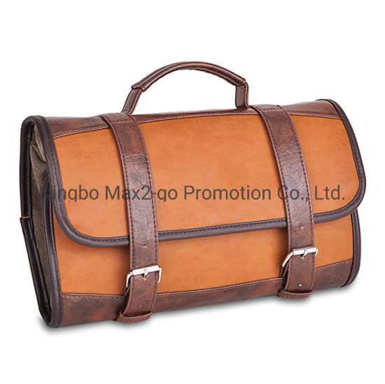 PU Leather Hanging Toiletry Bag for Men