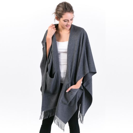 100% Alashan Cashmere Ladies Fashion Wearable Poncho with Pocket