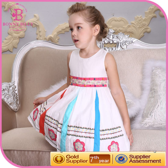 National Style Beads Embroidery Girls Dress, Children Clothing