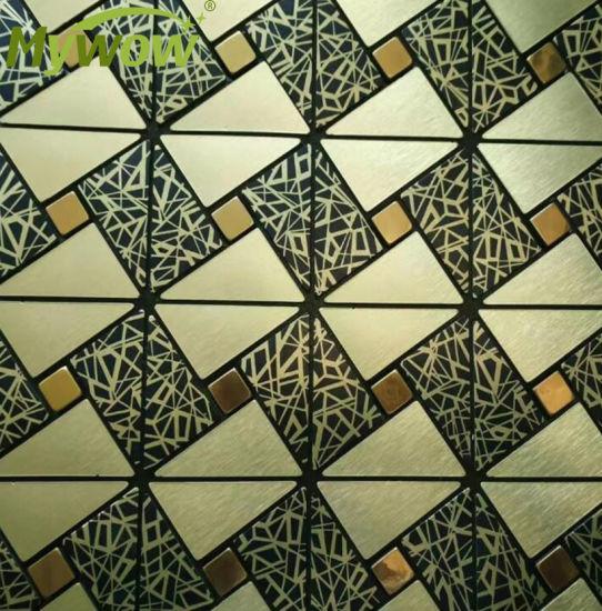 Mywow Mosaic Golden Tile Bathroom Decoration Glass 300*300mm