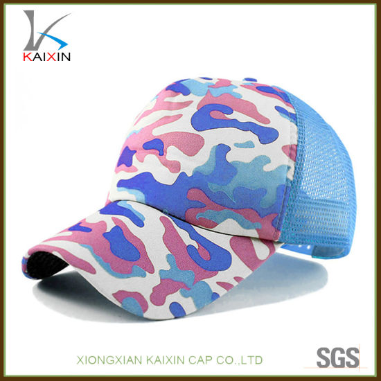 ab3e7a0b777 China Wholesale Printed Blue Camo Mesh Hat Plain Blank Trucker Hat ...
