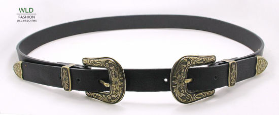 Women's Western Fashion Belt with Two Buckles Ky6281