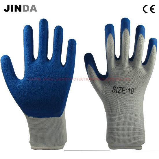 Polyester Shell Latex Coated Construction Safety Working Gloves (LS209)