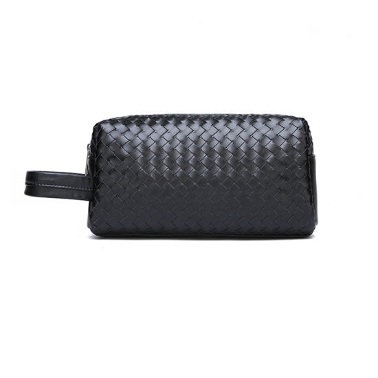 Woven PU Leather Vanity Cosmetic Bag for Travel pictures & photos