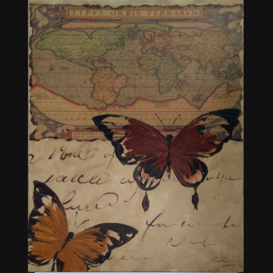 China Modern Butterfly World Map Background Abstract Painting Design