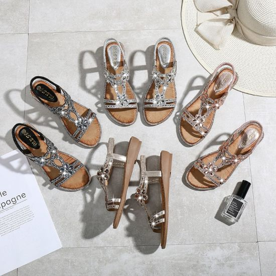 Fashion New Work Rhinestones Flowers Flat Sandals Wedges Cross Border Large Size Women S Sandals Wholesale China Women Shoe And Shoes Price Made In China Com