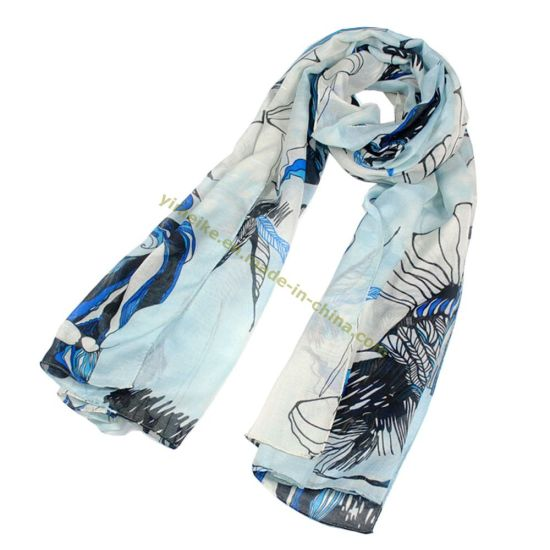 Big Size Pretty Flower Design Voile Scarf for Lady pictures & photos