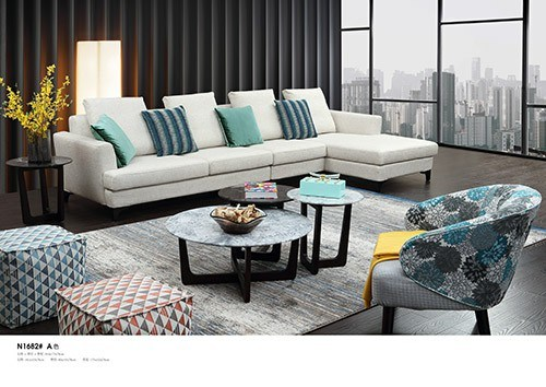 Factory Supply Directly Home Furniture Leather Fabric Upholstery Corner Sofa