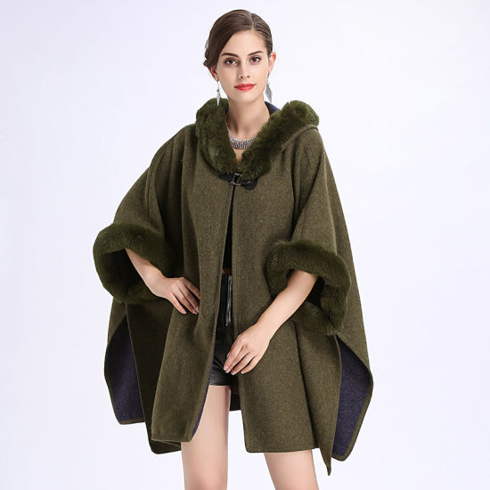 Ladies′loose Cap Knitted Shawl Cloak Jacket pictures & photos