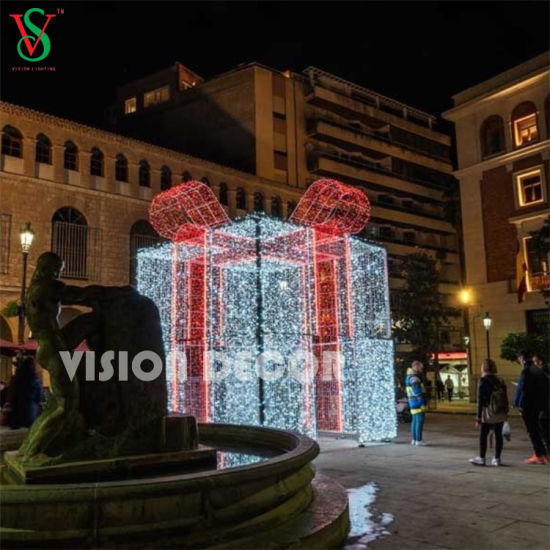 Vision Decor Large Outdoor Street Christmas Led Gift Box Lighted Motif