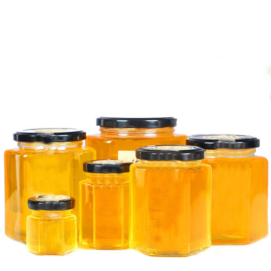 45ml-1000ml Hexagonal Food Storage Glass Honey Jar with Metal Lug Lid