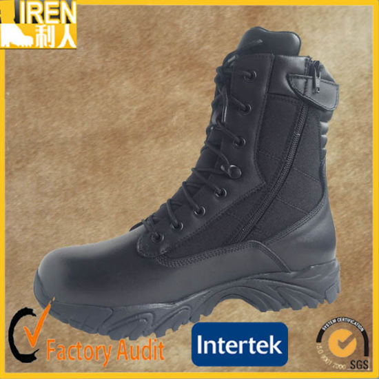 Black Comfortable Genuine Leather Quick Wear Military Police Swat Tactical Boots