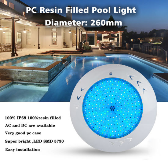 12V 55watt RGB PC Resin Filled Wall Mounted Swimming Pool Lights with CE RoHS IP68 Reports