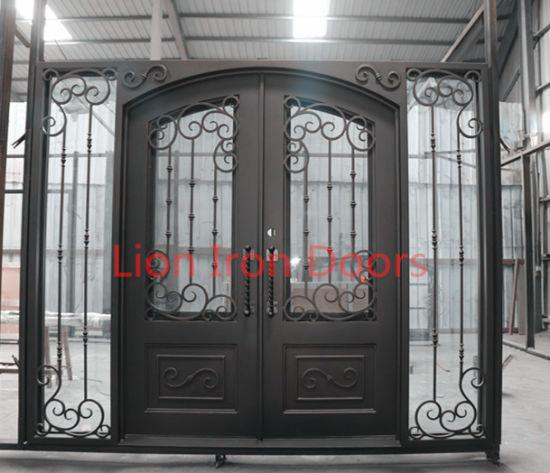 Large Steel Exterior Entry Door Iron Main Door With Transom