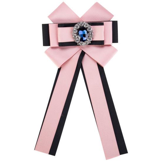 6a11564614f Women Girls Retro Neck Tie Brooches Ribbon Bow Brooch Pin Rhinestone Fabric  Lace Brooch